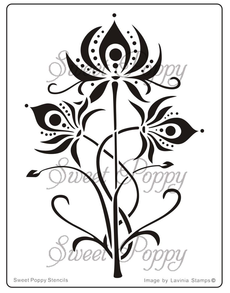 Sweet Poppy Stencil: Oriental Lilly
