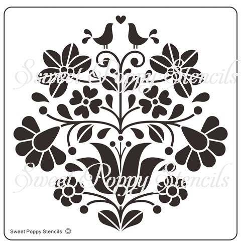 Sweet Poppy Stencil: Floral Love Birds