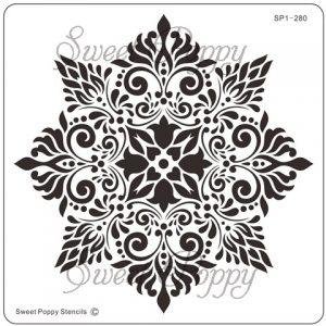 Sweet Poppy Stencil: Damask Flower