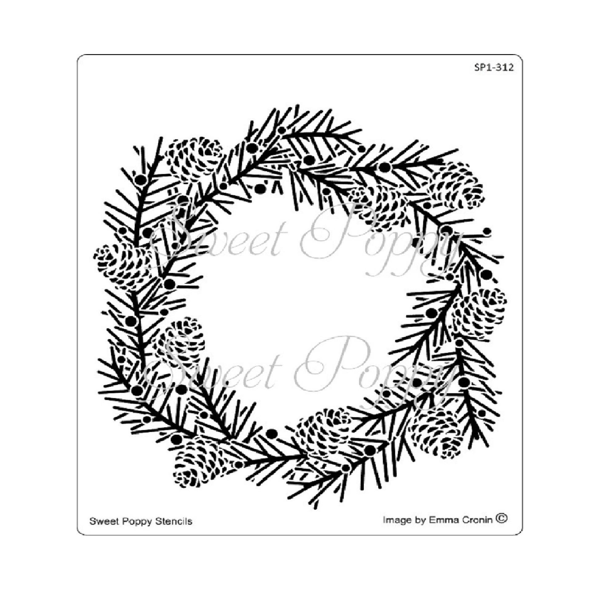 Pine Wreath Stencil